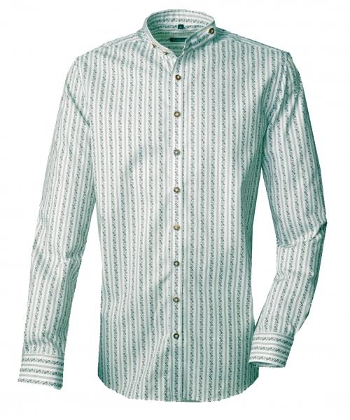 Trachtenhemd Waldstetten grün streifen Stehkragen Langarm Slim Fit OS Trachten