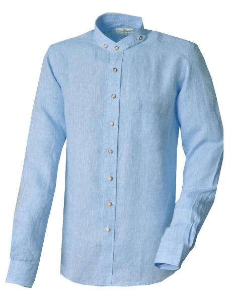Trachtenhemd Wöllershof blau hellblau Langarm Slim Fit Stehkragen Leinen Almsach
