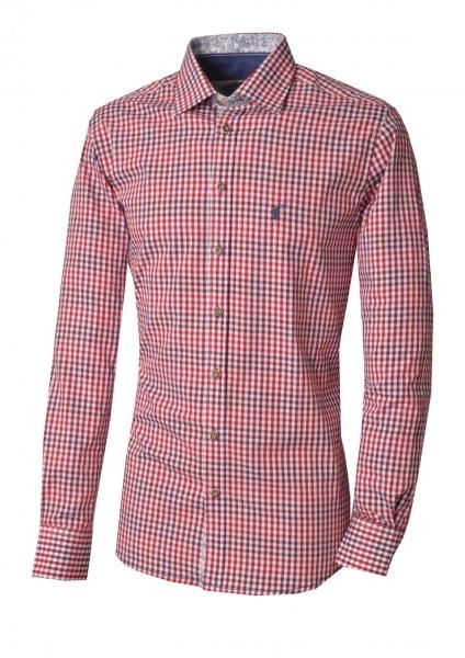 Trachtenhemd Tegernheim rot Karo Slim Fit Langarm OS Trachten