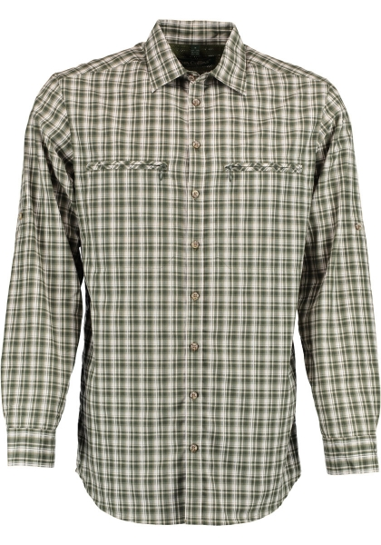 Trachtenhemd Günzkofen dunkelgrün grün Karo Krempelarm Regular Fit OS Trachten
