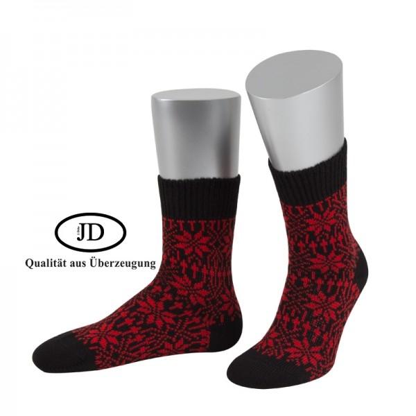 Norwegersocken Socken Marksteft schwarz rot JD