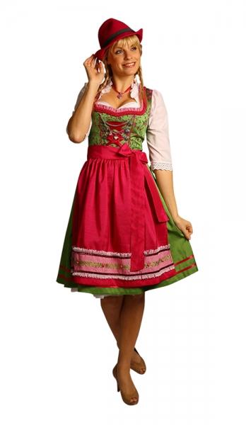 Dirndl midi 60 cm Barbara grün/pink Fuchs