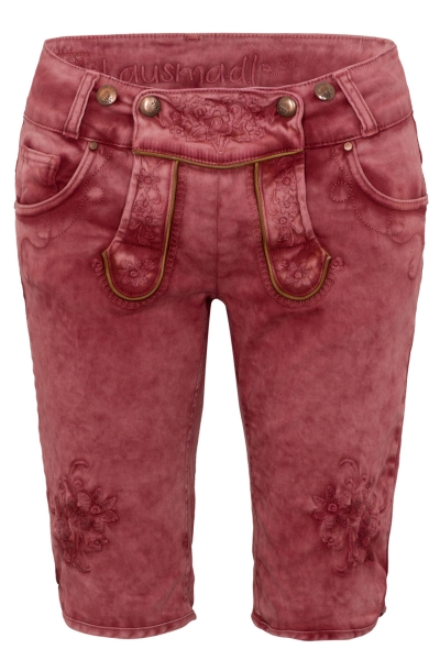 Trachtenjeans Bermuda Ovida weinrot rot Jeans-Shorts Hangowear