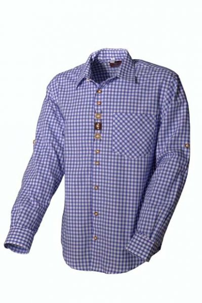 Trachtenhemd Ferdi blau Karo Langarm OS-Trachten