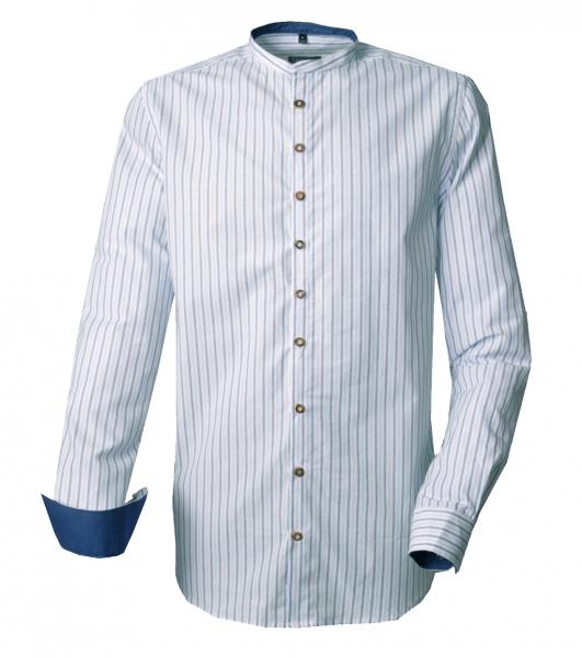 Trachtenhemd Walkertshofen blau/jeans streifen Stehkragen Langarm Slim Fit OS Trachten