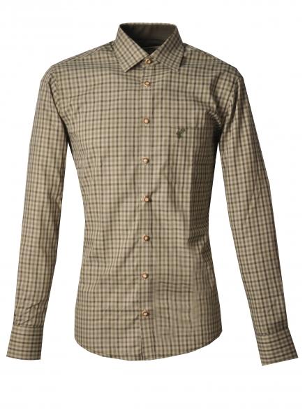 Trachtenhemd Spatzenhausen oliv grün Karo Slim Fit OS Trachten