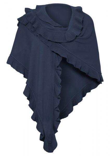 B-Ware / 2. Wahl - Trachten Poncho Gaißach dunkelblau blau Schal Stola Purset