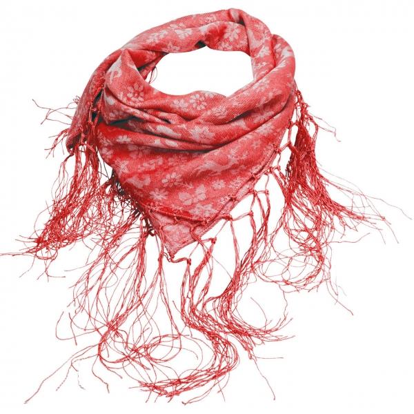 Trachtentuch Fransen-Jaquardtuch Tanzende Tiere rot Alpenflüstern