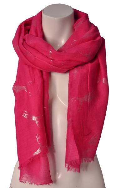Trachtenschal pink Glitzerhirsch Wolkenweis