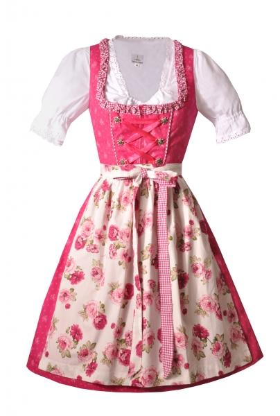 Dirndl midi 60 cm Rosalie pink Trachtenset 3-tlg. mit Dirndlbluse