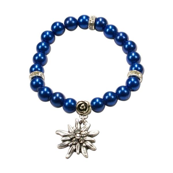 Trachten Armband Segnitz Edelweiß blau Wachsperlen Alpenflüstern