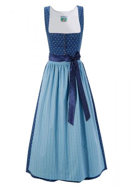 B-Ware / 2. Wahl - Dirndl lang 95 cm Hannelore blau Turi Landhaus