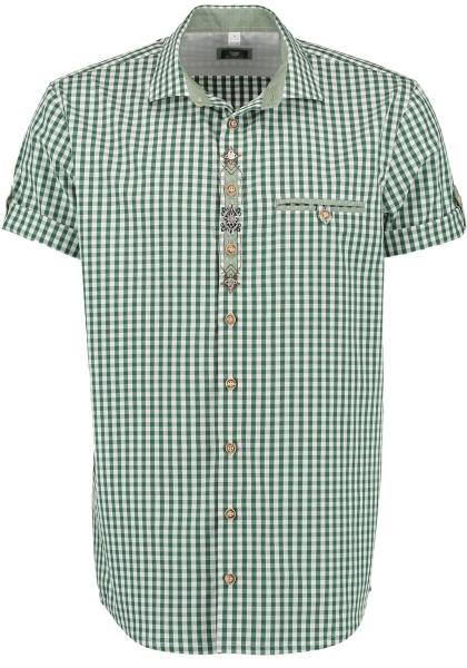 Trachtenhemd Hillaublau trachtengrün grün Karo Kurzarm Regular Fit OS Trachten