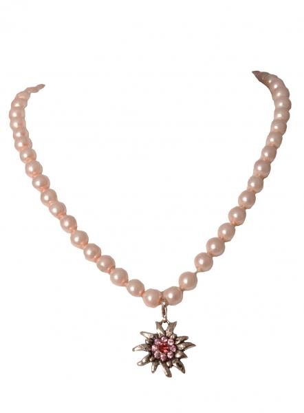 Perlenkette Nordhalben rosa mit Edelweiss v. Wolkenweiss