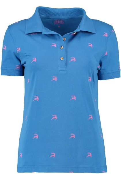 Trachten T-Shirt Poloshirt Sulzemoos blau Hirschmotive OS Trachten