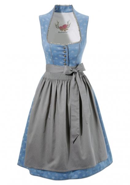 B-Ware / 2. Wahl - Dirndl midi 65 cm Lavinia blau grau Stockerpoint