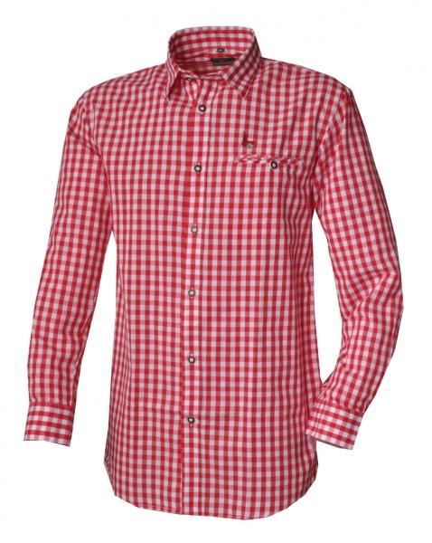 Trachtenhemd Kemnath rot Karo Langarm Kitzo Alpen