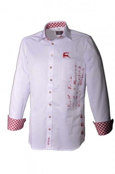 Trachtenhemd Martin Langarm weiss/rot Slim-Fit OS Trachten