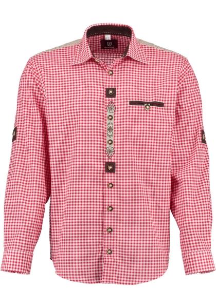 Trachtenhemd Tacherting rot Krempelarm OS-Trachten