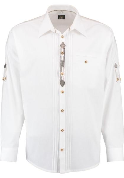Trachtenhemd Beutelhausen weiß Krempelarm OS Trachten