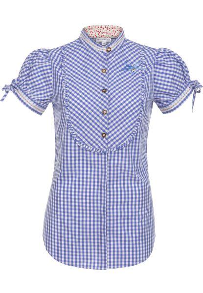 Trachtenbluse Ilaria blau Kurzarm Stockerpoint