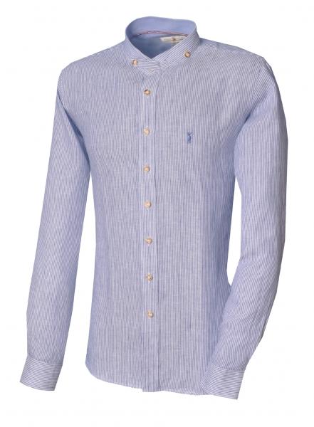 Trachtenhemd Aunkofen blau Langarm Slim Fit Leinen Almsach