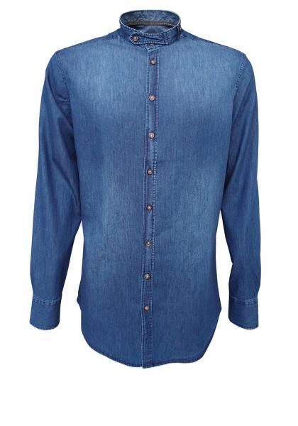 Trachtenhemd Bernhardswald marine/blau Slim Fit OS Trachten