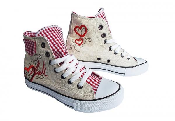 B-Ware / 2. Wahl Trachten Sneaker Red Heart beige rot Krüger Madl