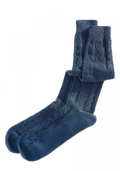 Trachtenkniestrumpf Socken Reichertshausen blau Zopfmuster