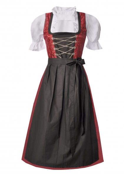Dirndl lang 90 cm Oberreute rot schwarz Trachtenset 3-tlg.