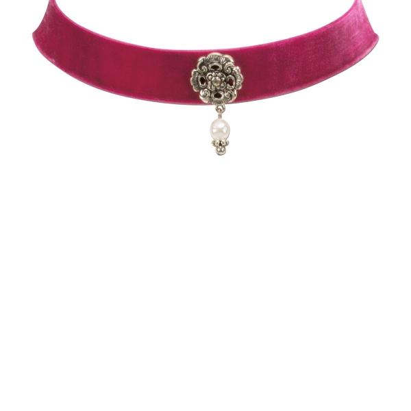 Trachten-Kropfband Samt Rödelsee pink Alpenflüstern