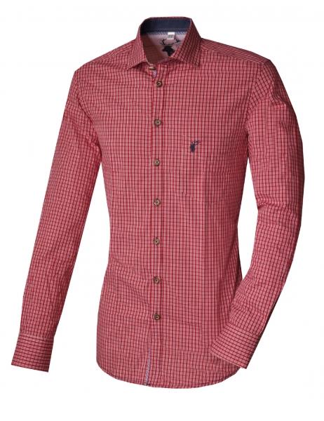 Trachtenhemd Kipfenberg rot mittelrot Langarm Slim Fit OS Trachten