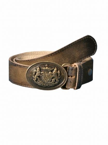 Trachtengürtel Ledergürtel Tabertshausen ziller antik braun Wappen Maddox
