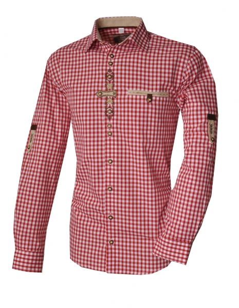 Trachtenhemd Schöfweg rot Karo Krempelarm OS Trachten