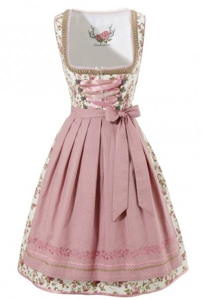 Dirndl mini 60 cm Virginia weiß/rosa Stockerpoint