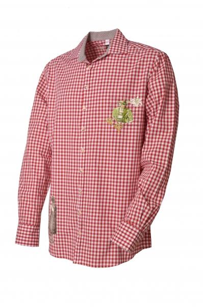 Trachtenhemd Mauth rot/weiß Slim Fit OS Trachten