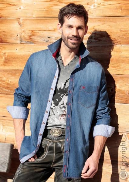 Trachtenhemd Weitnau blau jeansblau Slim Fit OS Trachten