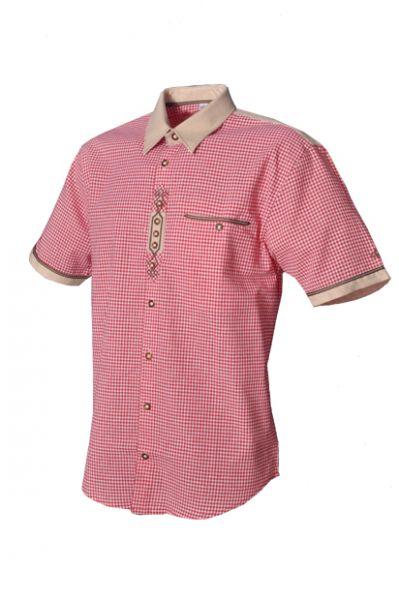 Trachtenhemd Matteo rot Kurzarm OS Trachten