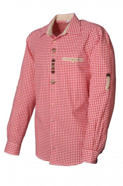 Trachtenhemd Zachenberg rot Krempelarm OS-Trachten