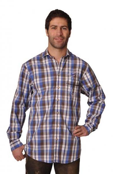Trachtenhemd Joshua blau/braun Karo Langarm OS Trachten