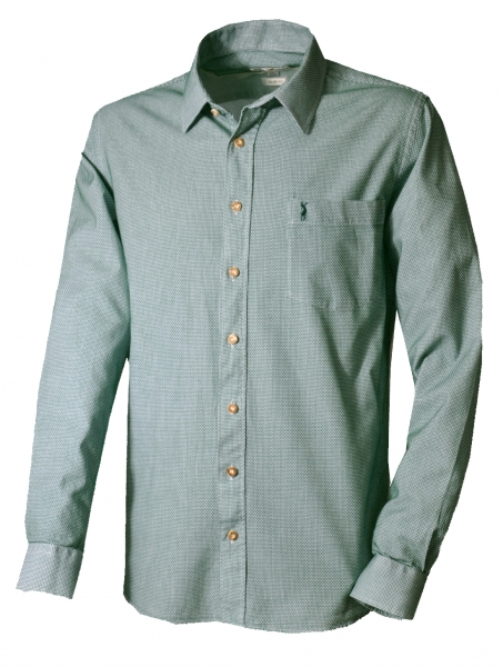 Trachtenhemd Wirsberg grün Langarm Slim Fit Almsach