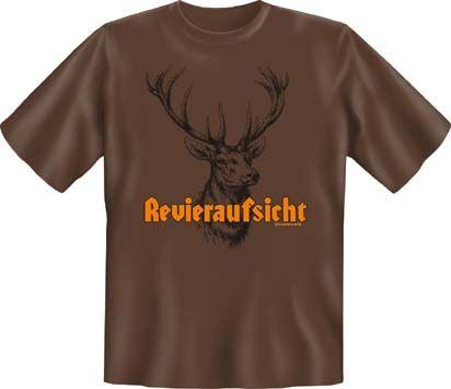 Trachtenshirt Jagdshirt Revieraufsicht braun T-Shirt