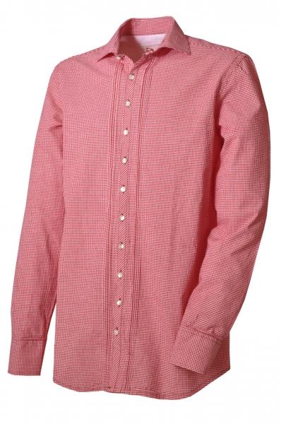 Trachtenhemd Mistelbach rot/weiß kariert Langarm Slim Fit OS Trachten