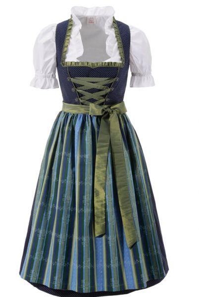B-Ware / 2. Wahl - Dirndl midi 70 cm Tröglersrieth blau grün Trachtenset 3-tlg. Naber Collection
