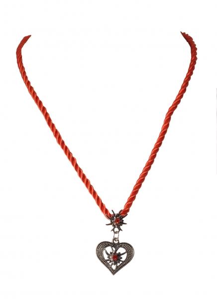 Dirndlkette Trachtenkette Windelsbach Herz mit Edelweiß rot