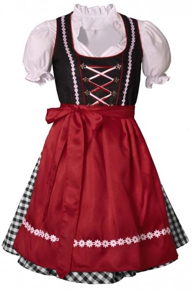 Dirndl mini 55 cm Iphofen rot/schwarz/schwarz Trachtenset 3-tlg.