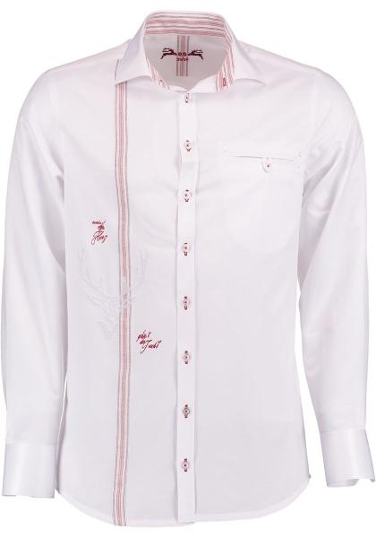 Trachtenhemd Birnkofen weiß / rot Langarm OS Trachen