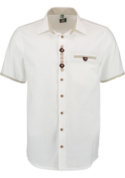 Trachtenhemd Lochham weiß Kurzarm Stickerei Regular Fit OS-Trachten