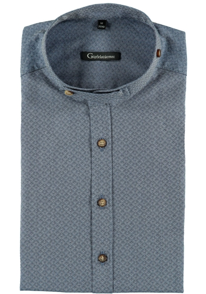 Trachtenhemd Wallersdorf jeans blau Langarm Body Fit OS Trachten