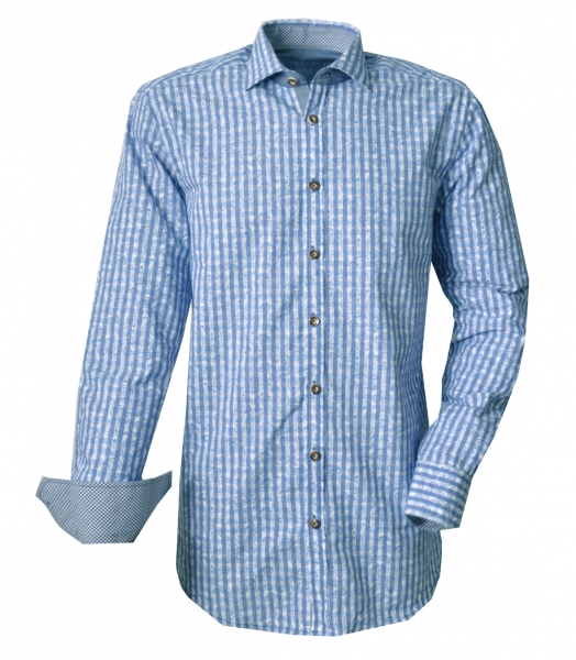 Trachtenhemd Königsmoos blau Karo Slim Fit Langarm OS Trachten